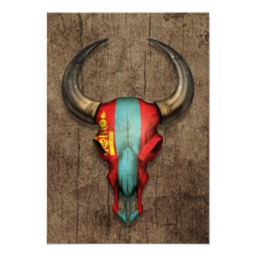 Mongolian Flag Bull Skull on Wood Effect Personalized Invites