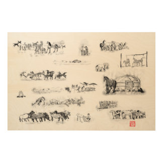 Mongolian horsemen kife in Japanese art Wood Wall Art