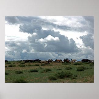 Mongolian Horses Poster