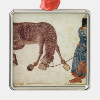 Mongolian nomad taking his horse to water metal ornament