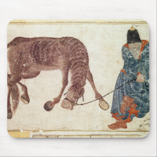 Mongolian nomad taking his horse to water mouse pad