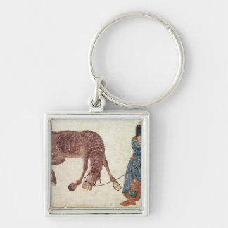 Mongolian nomad taking his horse to water Silver-Colored square keychain
