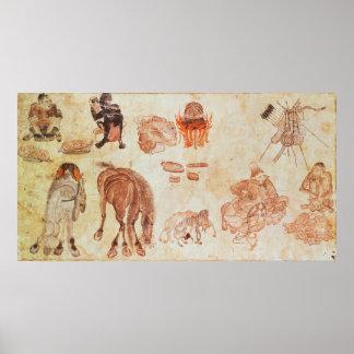 Mongolian nomadic camp, 15th century poster