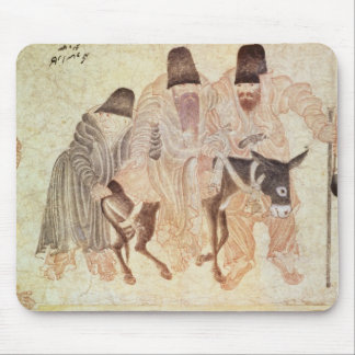 Mongolian nomads with a donkey, 15th century mouse pad