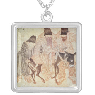 Mongolian nomads with a donkey, 15th century silver plated necklace