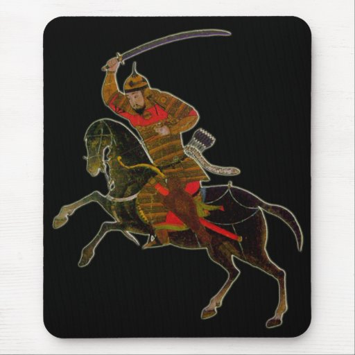 Mongolian rider in battle mouse pad