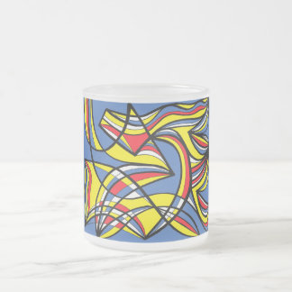 Mongolo Abstract Expression Yellow Red Blue 10 Oz Frosted Glass Coffee Mug