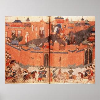 Mongols bajo dirección de Hulagu Khan Póster