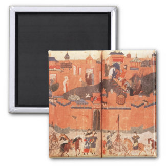 Mongols under the leadership of Hulagu Khan 2 Inch Square Magnet
