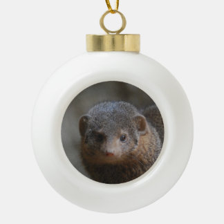 Mongoose Ceramic Ball Christmas Ornament