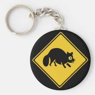 Mongooses Crossing (1),Traffic Sign, Japan Basic Round Button Keychain