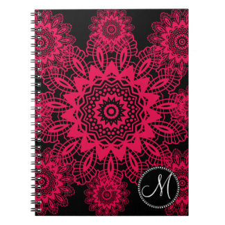 Mongram Black Hot Pink Fuchsia Lace Snowflake Spiral Notebook