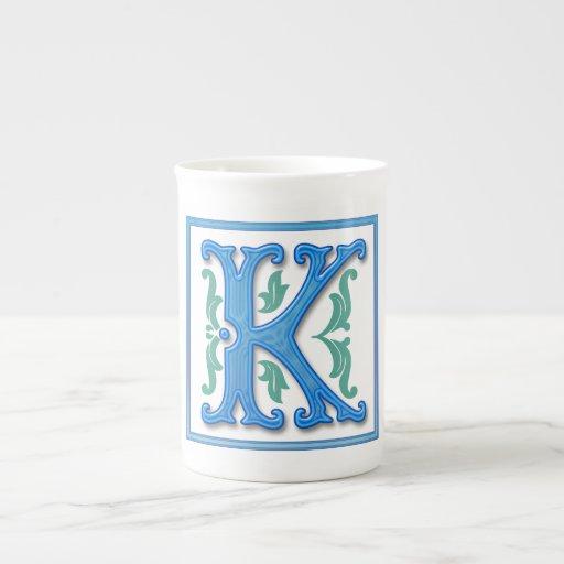 Mongram K inicial Tazas De China