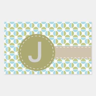 Mongram patterns rectangular sticker