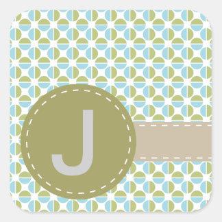 Mongram patterns square sticker