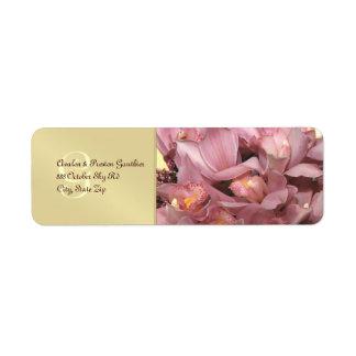 Mongram Pink Orchids Wedding Address Label