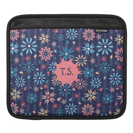 Mongram pretty scattered flowers sleeve for iPads