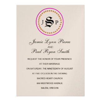 Mongram Suite Invitation in Champange & Hot Pink