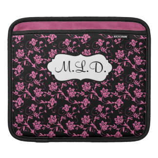 Mongrammed Black, Pink, and White Floral Damask Sleeve For iPads