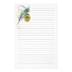 Mongrammed Peacock Lined Stationery at Zazzle