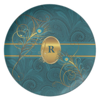 Mongrammed Teal Peacock with Gold Dinnerware