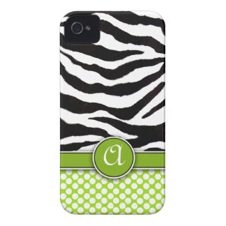 Mongrammed Zebra Print iPhone 4 Case-Mate iPhone 4 Cover