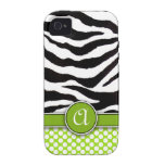 Mongrammed Zebra Print iPhone 4 Case-Mate Tough