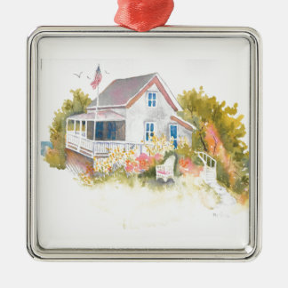 Monhegan Cottage J Kilburn Metal Ornament