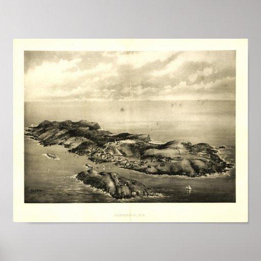 Monhegan Island, Maine 1896 Panaromic View Poster