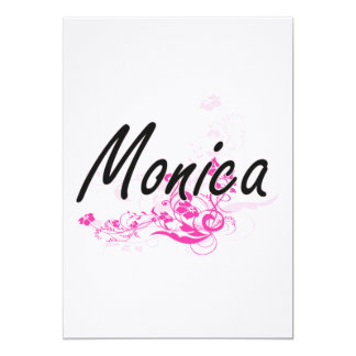 Monica Artistic Name Design with Flowers 5x7 Paper Invitation Card