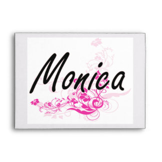 Monica Artistic Name Design with Flowers Envelopes