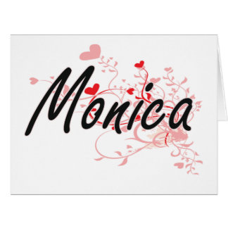 Monica Artistic Name Design with Hearts Large Greeting Card