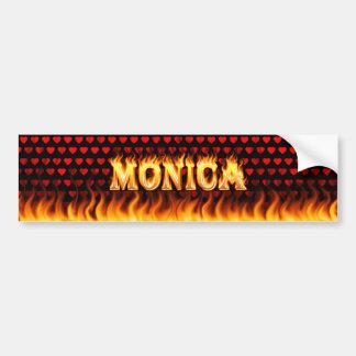 Monica real fire and flames bumper sticker design. car bumper sticker