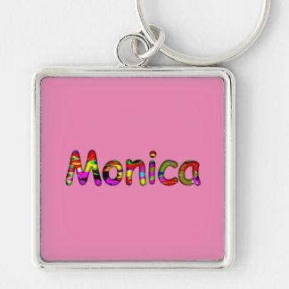 Monica Silver Colored Square Keychain