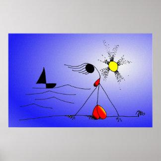 Mónica-y-Puesta del sol (color de Digitaces) Posters