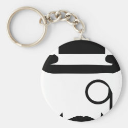 Basic Button Keychain with Mustache Mugs design