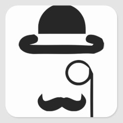 Square Sticker with Mustache Mugs design