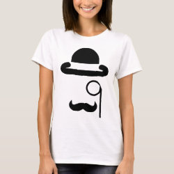Women's Basic T-Shirt with Mustache Mugs design