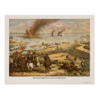 Monitor and Merrimac Battle by Kurz & Allison 1862 Poster
