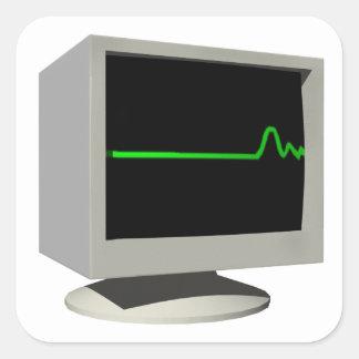Monitor de Flatline Pegatina Cuadrada