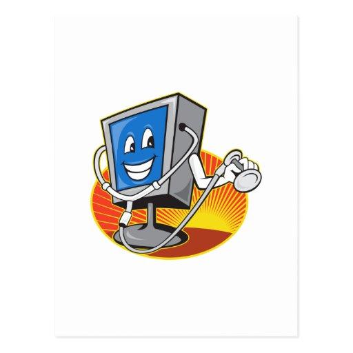 Monitor del ordenador TV con el doctor Stethoscope Tarjetas Postales