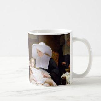 Monja que cuida para un niño enfermo taza básica blanca