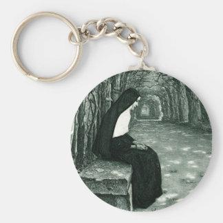 monja solitaria llavero redondo tipo pin