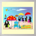 """Monjas caprichosas """"en poster del arte de la playa"""