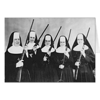 Monjas con los armas tarjeta de felicitación