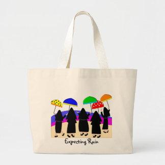 """Monjas con los paraguas la """"que cuentan con lluvia bolsas"""
