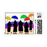 Monjas con los sellos de los paraguas