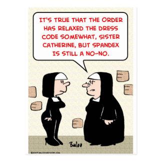 monjas de Spandex no-ningún código de vestimenta Postales