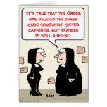 monjas de Spandex no-ningún código de vestimenta Tarjetón