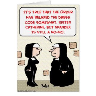 monjas de Spandex no-ningún código de vestimenta Tarjeta De Felicitación